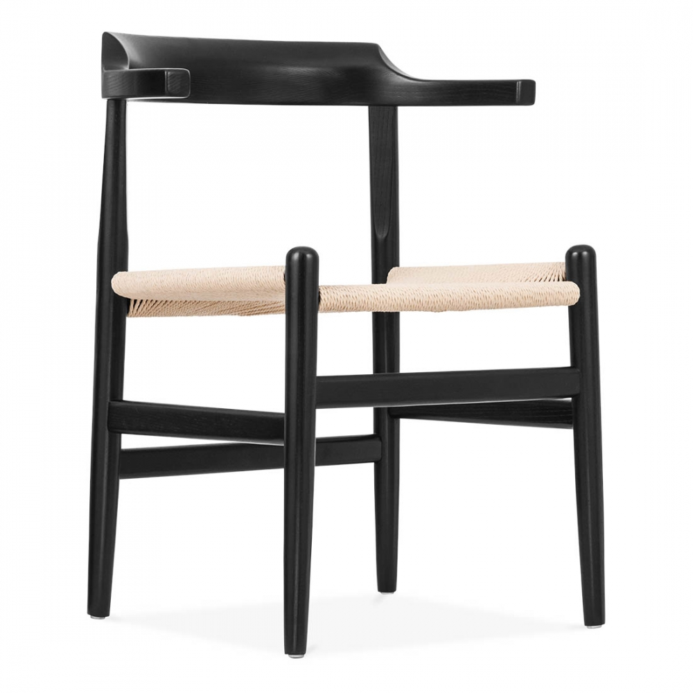 Hans wegner style pp68 chair in black modern dining for Danish design furniture