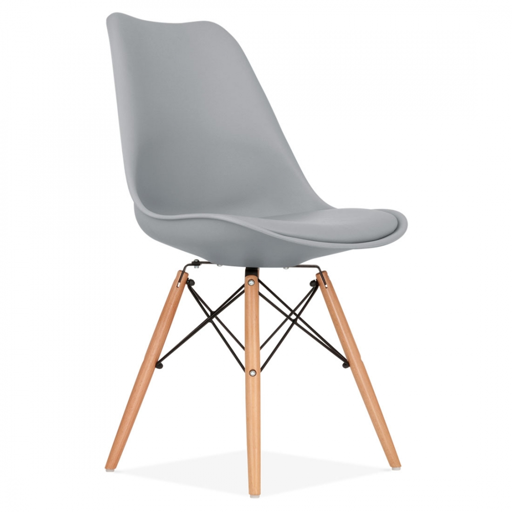 Cool grey soft pad dining chair with dsw style natural for Chaise dsw grise