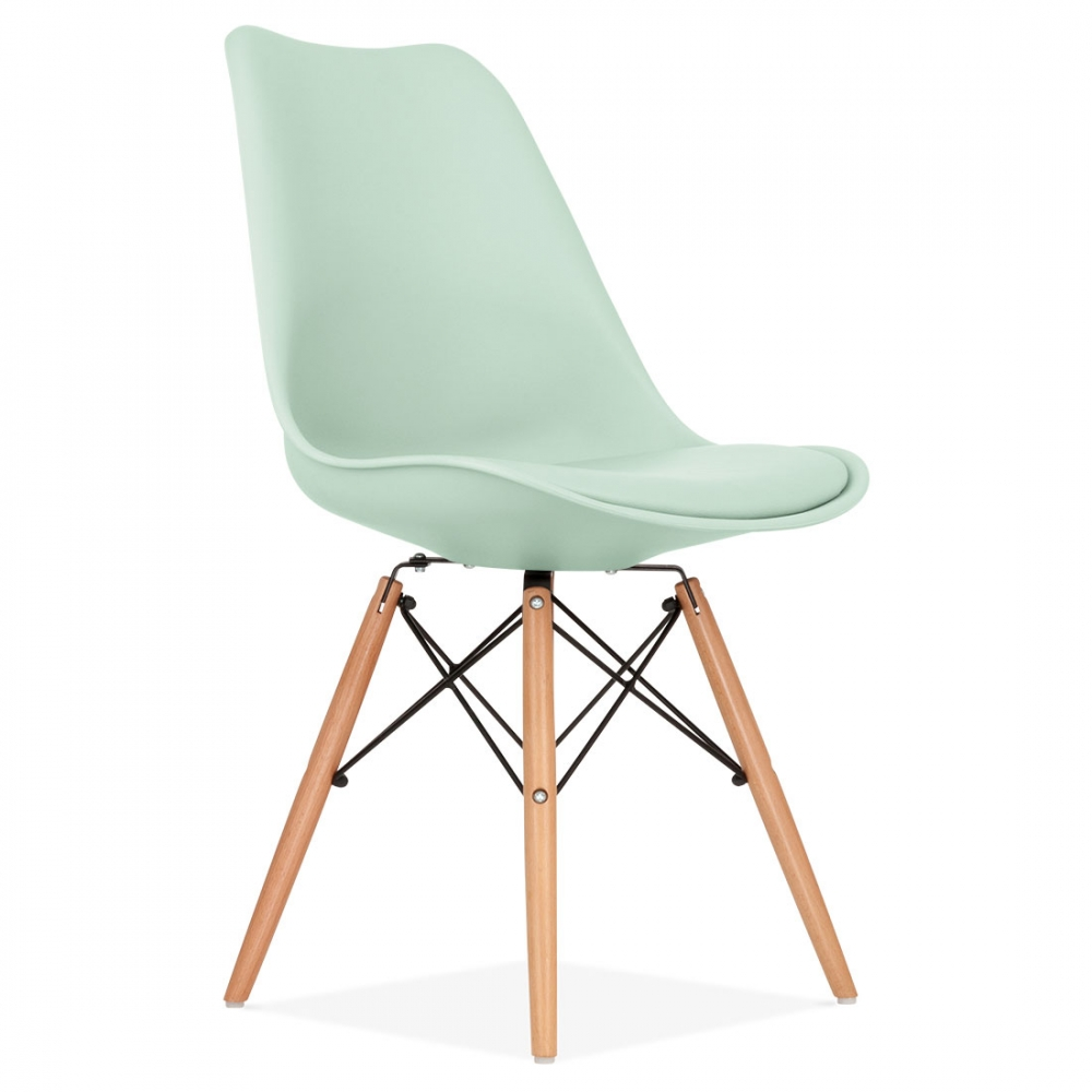 Mint dining chair with dsw style natural wooden legs for Chaise eames dsw style patchwork