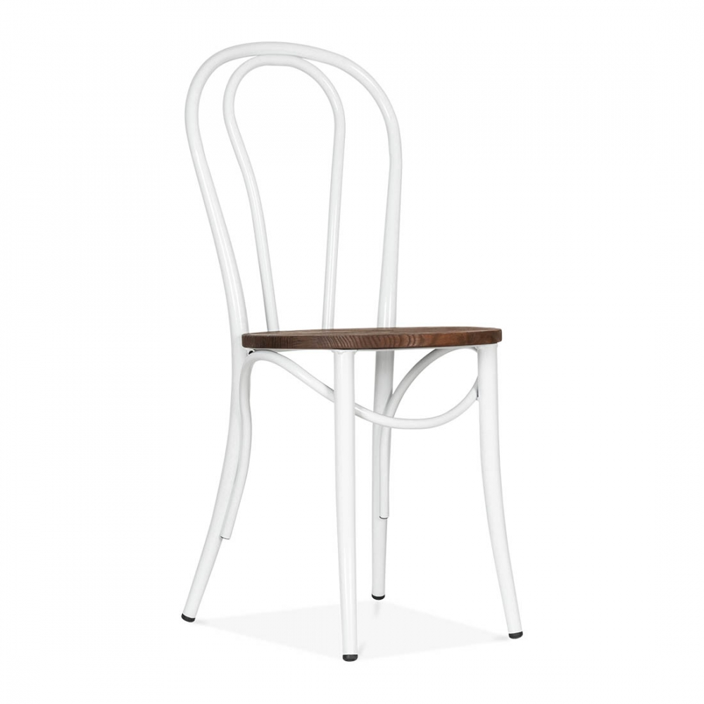 white thonet style bistro chair with wood seat cult. Black Bedroom Furniture Sets. Home Design Ideas
