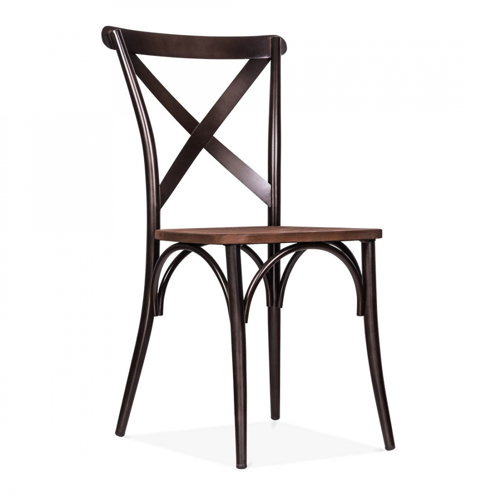 Cult living crossed back bistro chair with wood seat in - Chaise bois et metal ...
