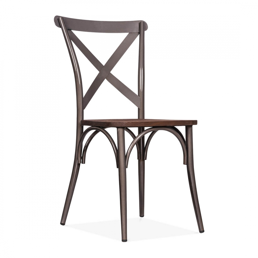 cult living gunmetal crossed back bistro chair with wood seat cult uk. Black Bedroom Furniture Sets. Home Design Ideas