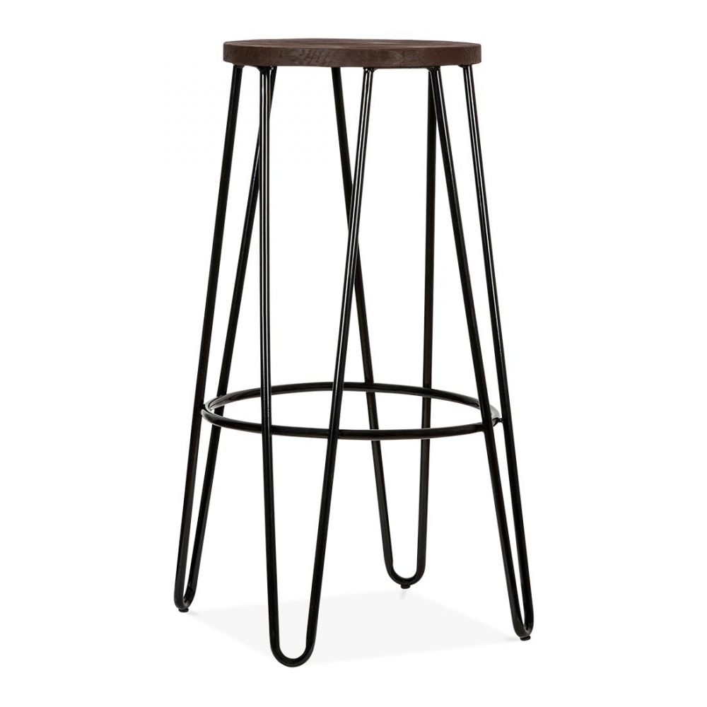 Hairpin bar stool with wood seat option black cm cult