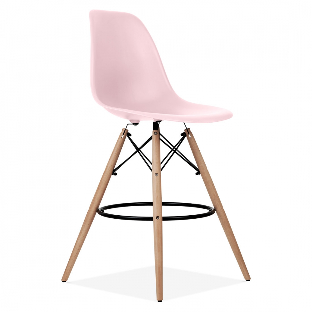 Pastel pink eames style dsw stool kitchen bar stools for Chaise eames rose pale