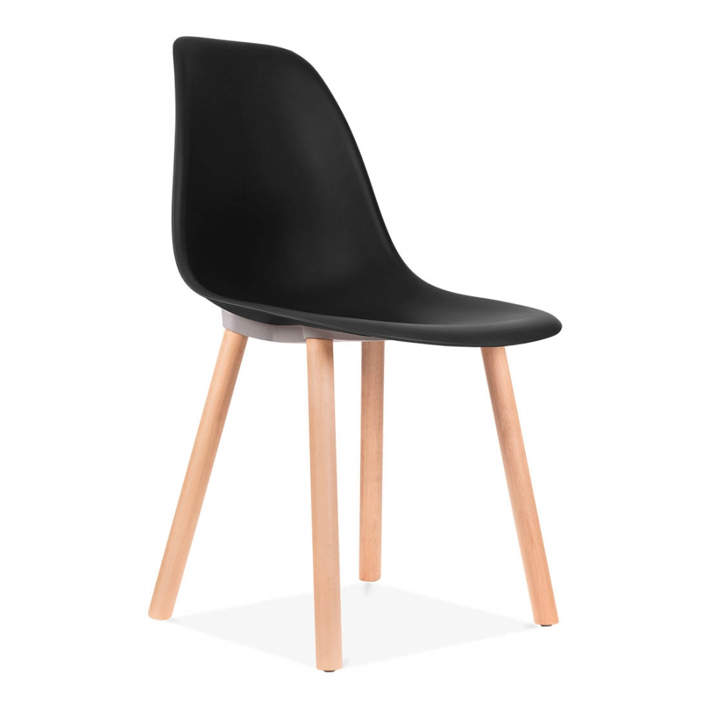 Copenhagen eames inspired dining chair in black cafe for Leather eames dining chair