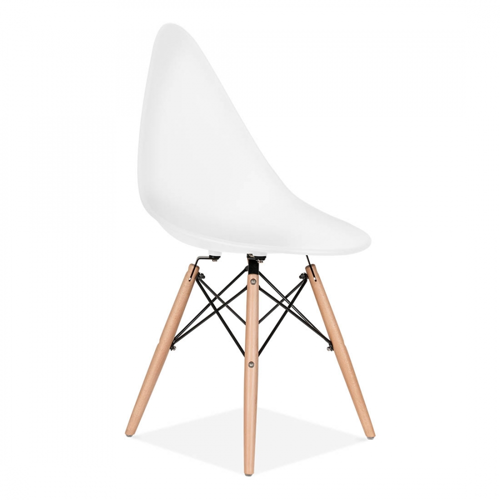 Eames inspired white triangle dining chair with dsw legs for Inspiration eames