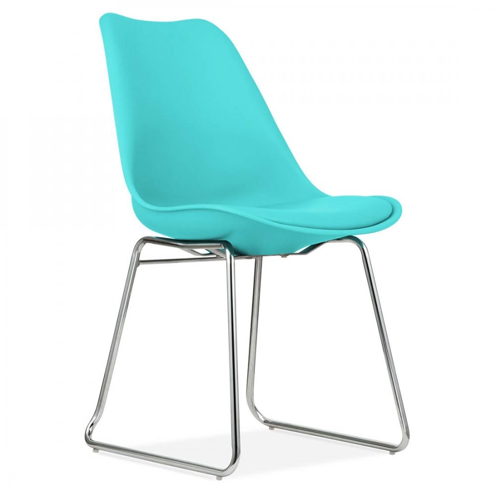 Eames inspired turquoise dining chairs with soft pad seat for Pietement eames
