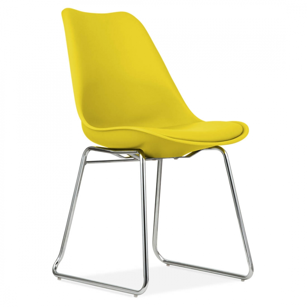 Yellow Dining Chairs: Eames Inspired Dining Chairs In Yellow With Soft Pad Seat