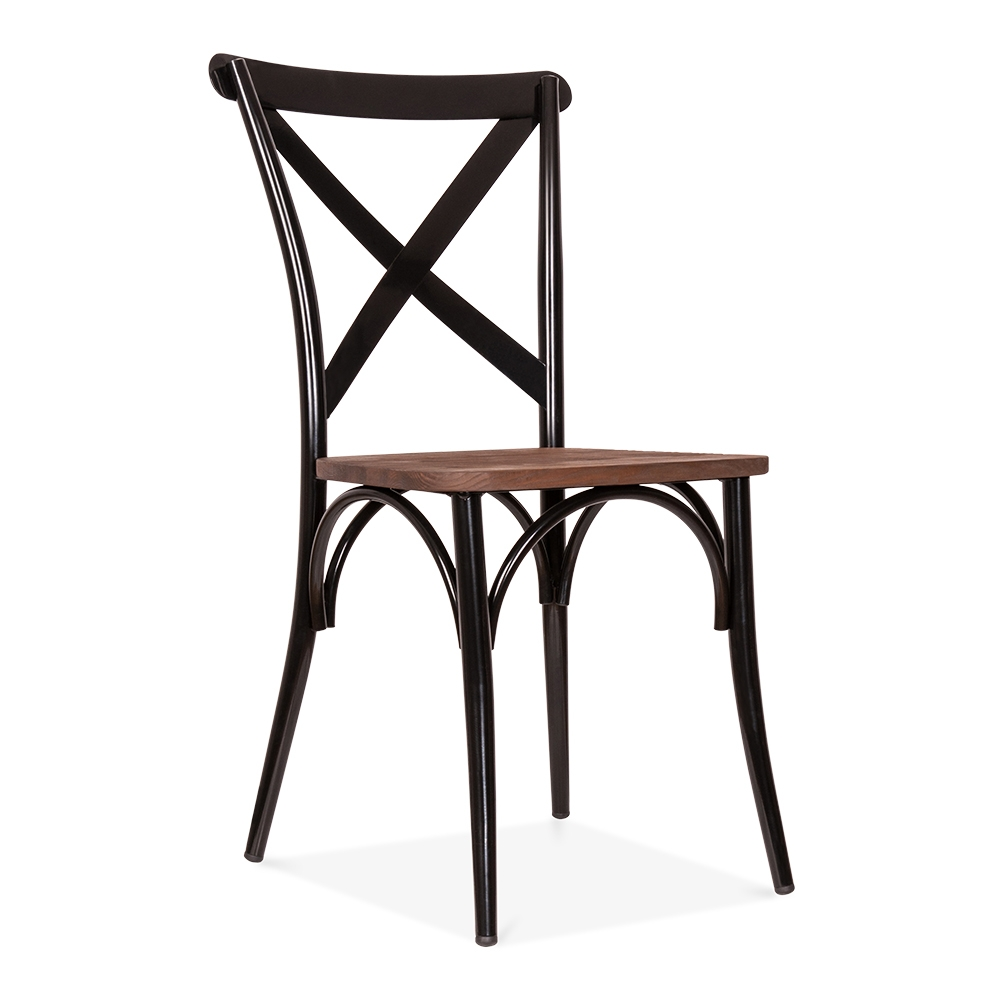 Cult Living Black Crossed Back Bistro Chair with Wood Seat – Black Bistro Chair