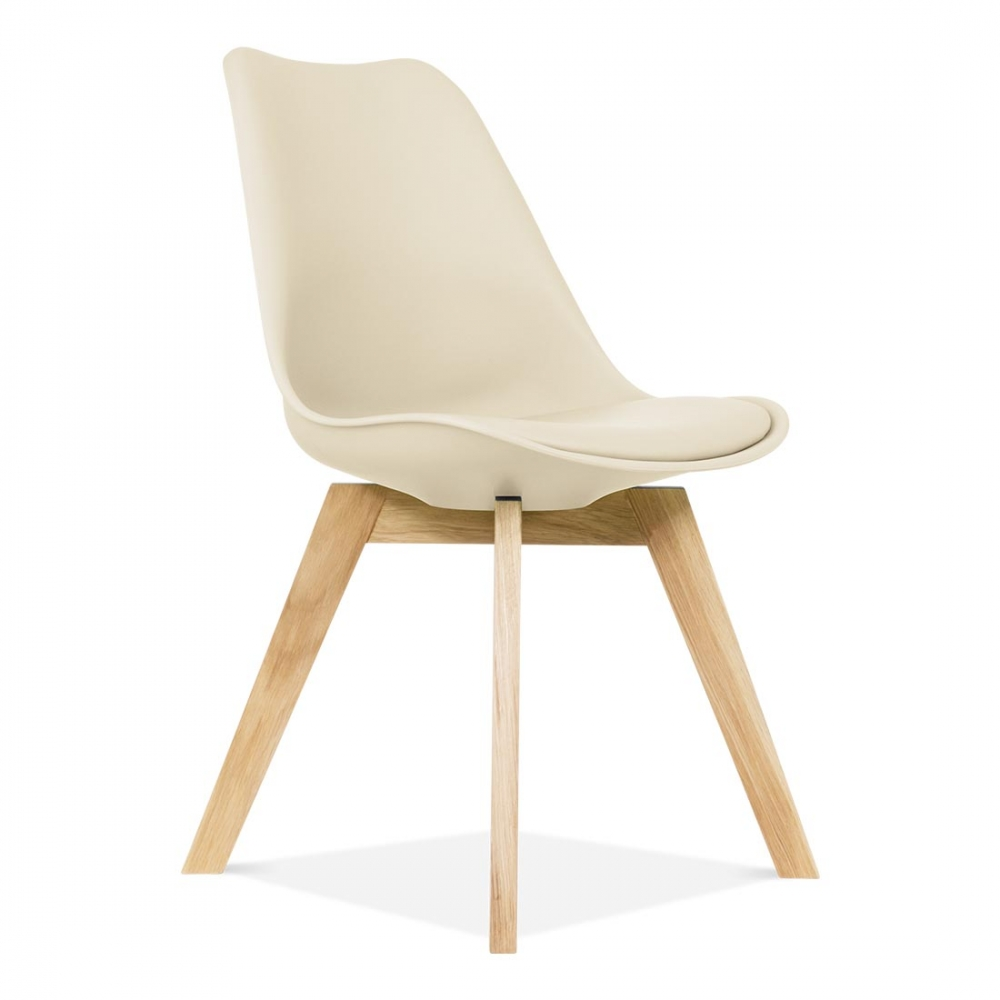 Cream eames inspired dining chair with crossed wood legs for Cream dining room chairs sale