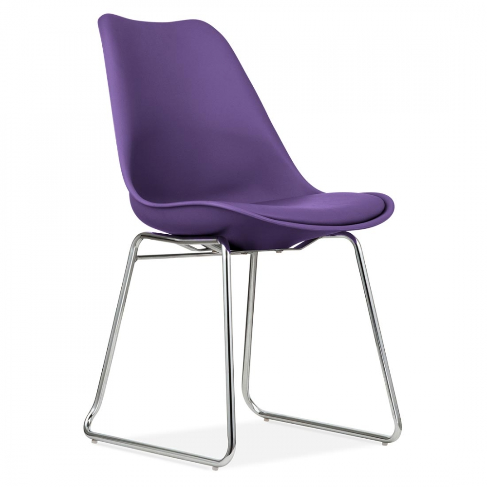 purple eames inspired dining chair with soft pad seat. Black Bedroom Furniture Sets. Home Design Ideas