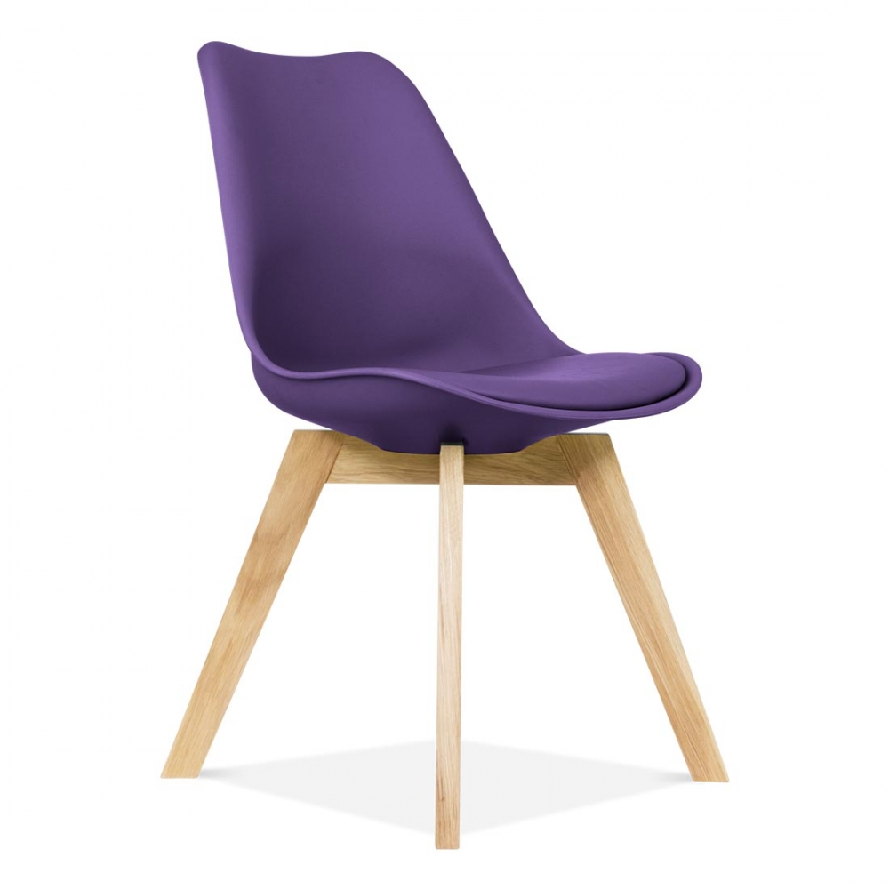 purple eames chair with crossed oak legs | dining chairs | cult uk