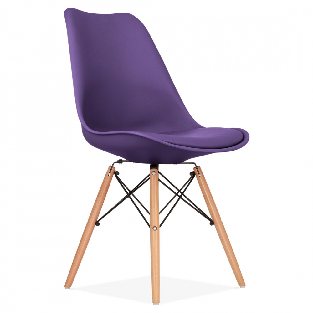 eames inspired purple dining chair with dsw style natural wooden legs