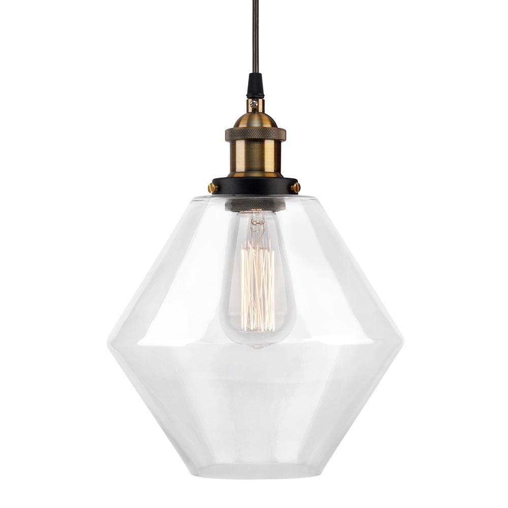 Industrial Pendant Light Glass: Industrial Clear Glass Diamond Pendant Light