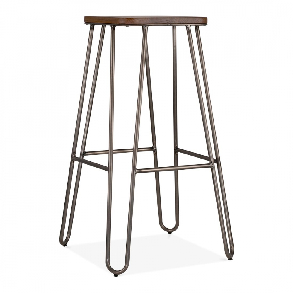 Hairpin Metal High Stool 76cm In Rustic With Square Seat