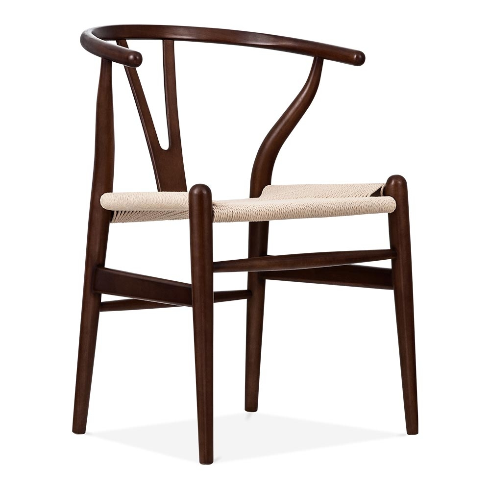 Hans Wegner Style Wishbone Chair In Dark Brown Wood