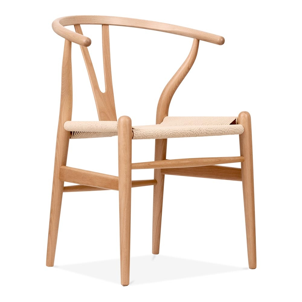 Hans wegner style wishbone chair in natural wood cult for Wooden armchair designs