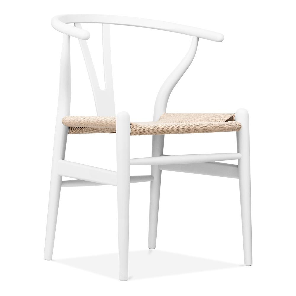 hans wegner style white wooden wishbone chair modern