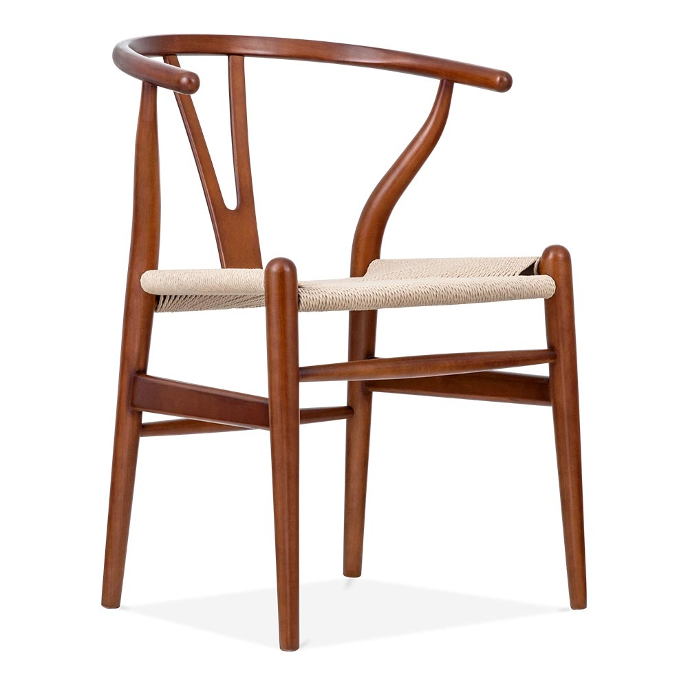 Hans wegner style brown wishbone chair wood dining for Danish design furniture