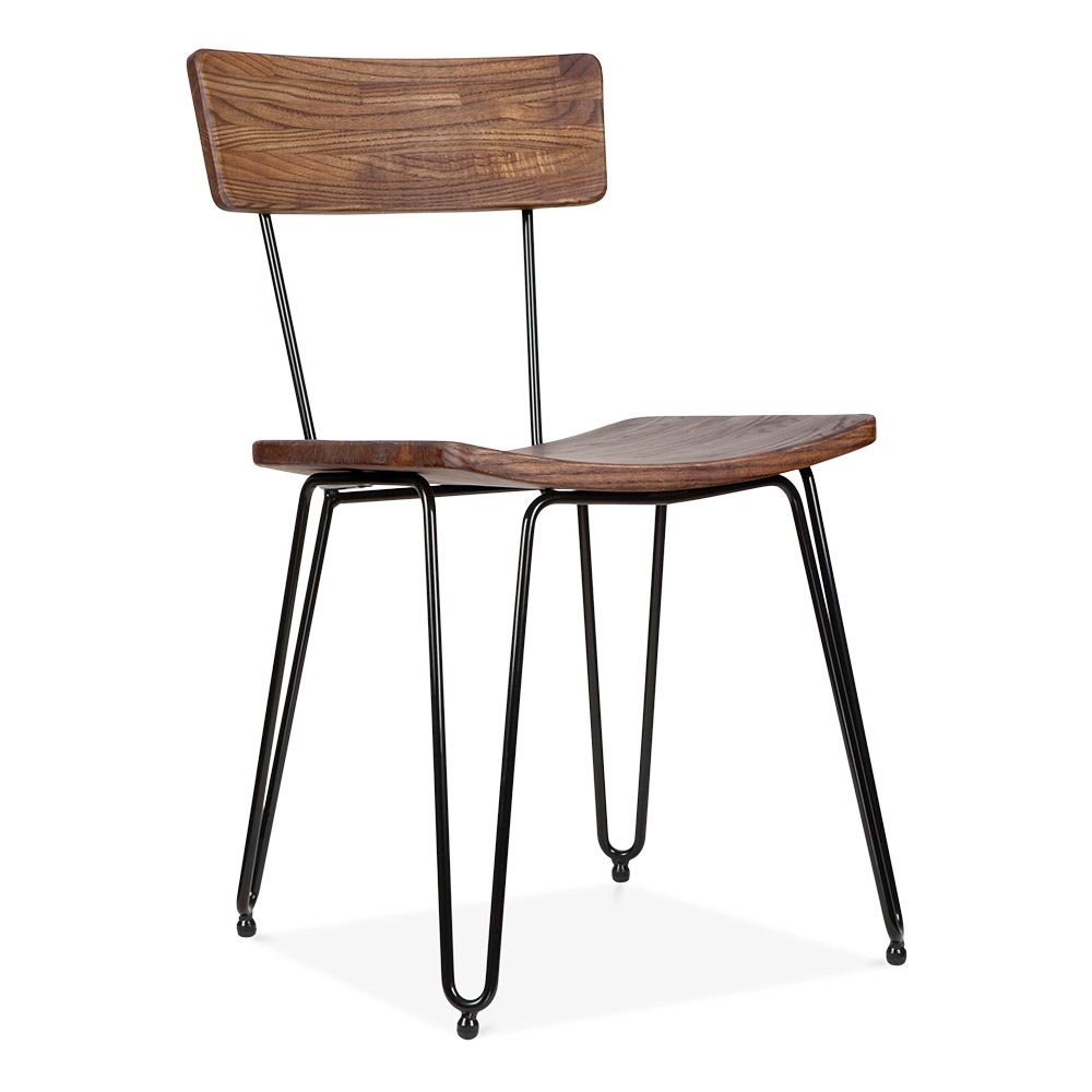 Cult Living Black Hairpin Chair With Wood Seat