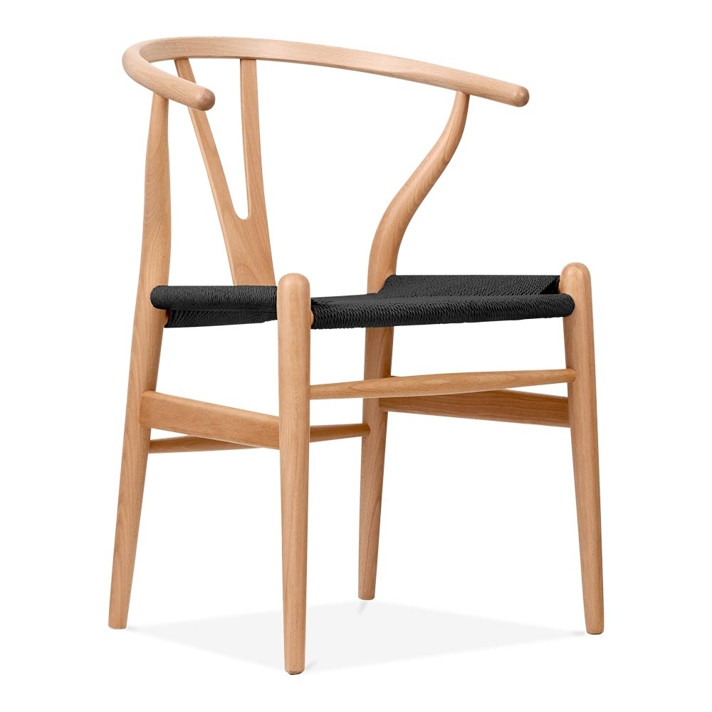 hans wegner style natural wood wishbone chair with black seat cult uk. Black Bedroom Furniture Sets. Home Design Ideas