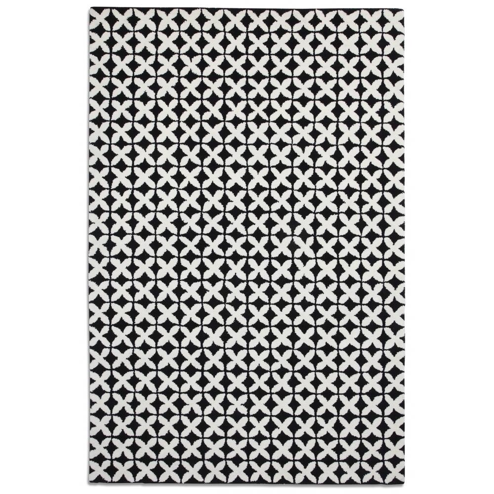 Black And White Geometric Kitchen Rug: Plantation Geometric Rug In Black And White