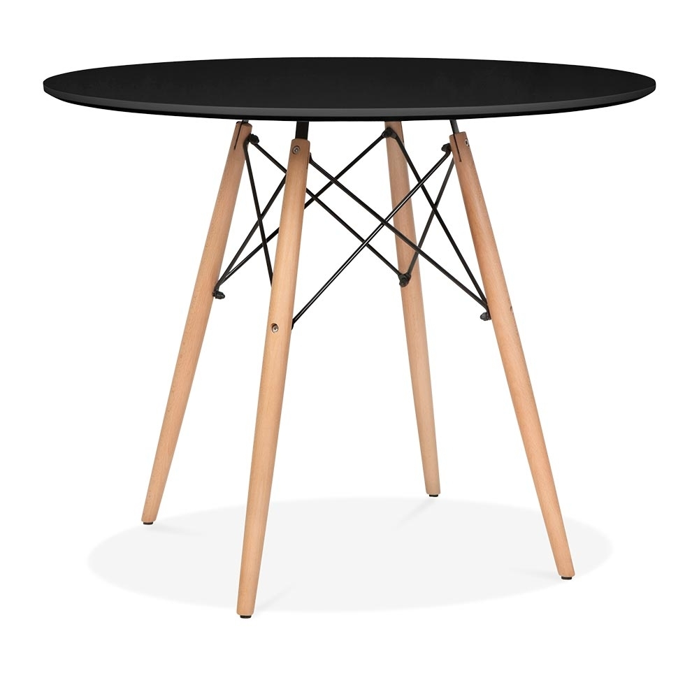 Eames style large black dsw round table dining table for Black round dining table