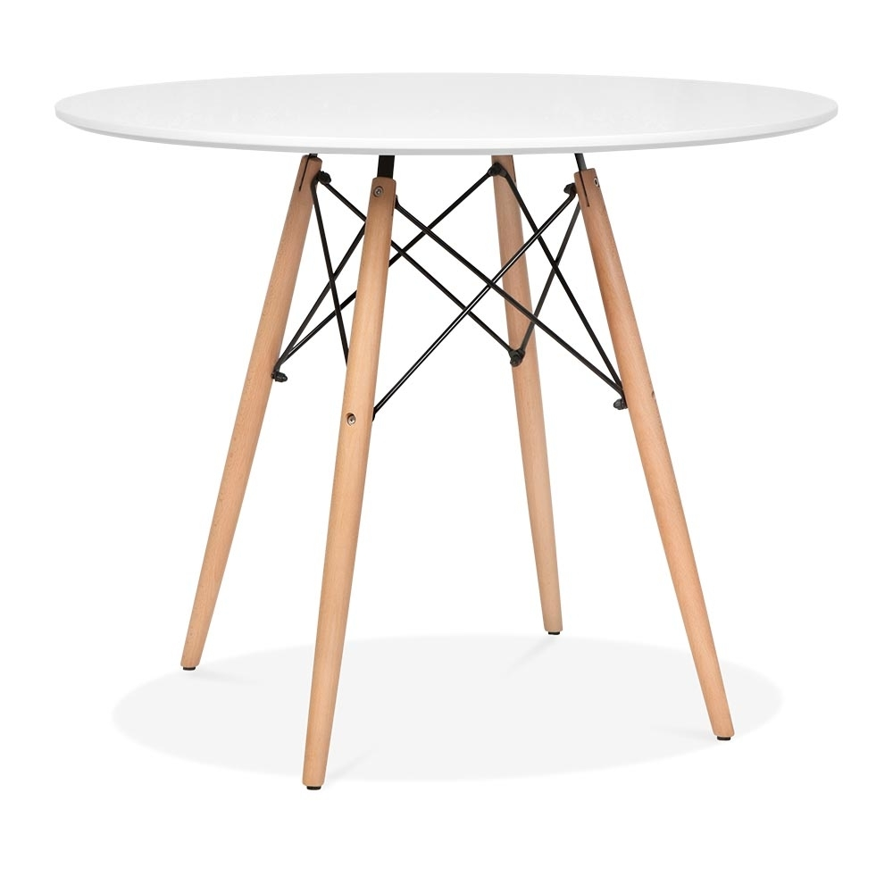 White eames dsw table with wooden legs 90cm dining for Table eames dsw