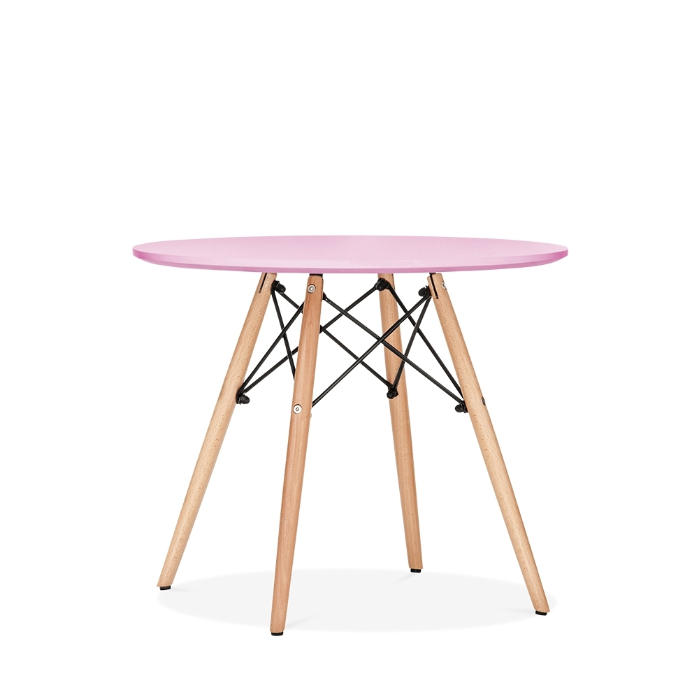 Eames Inspired DSW Pastel Pink Kids Round Dining Table   Diameter 60cm. U2039