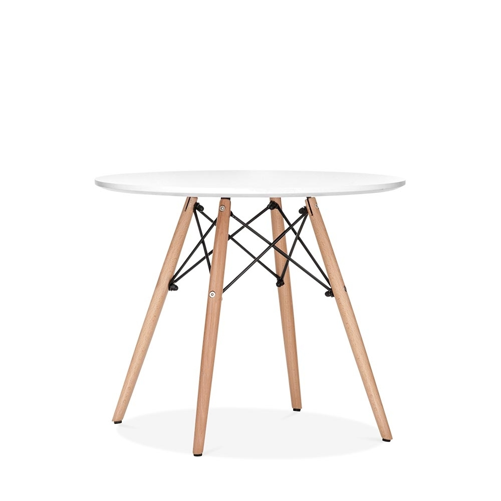 Eames inspired dsw white kids round table dsw dining for Table ronde rallonge scandinave
