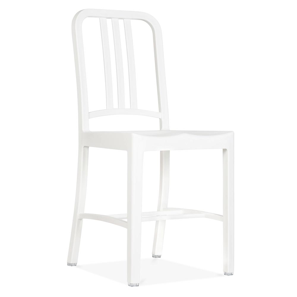 Navy chair style plastic dining chair in white cult for White plastic dining chair