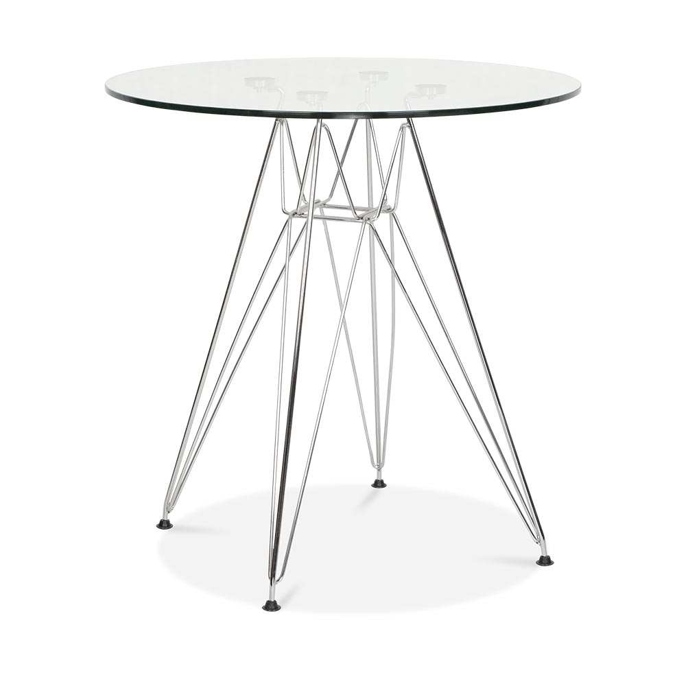 Charles Eames Dsr Glass Table With Chrome Legs 70 Cm