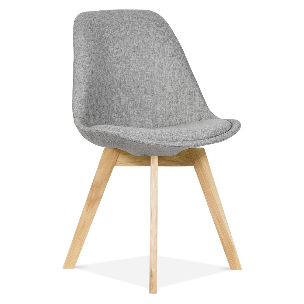 Eames inspired cool grey upholstered dining chair cafe for Furniture chairs