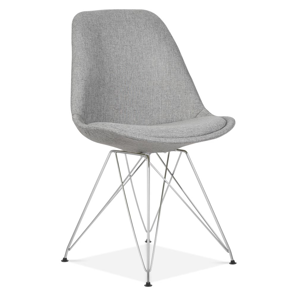 Eames Inspired Upholstered Dining Chair With Eiffel Metal Legs   Cool Grey.  U2039