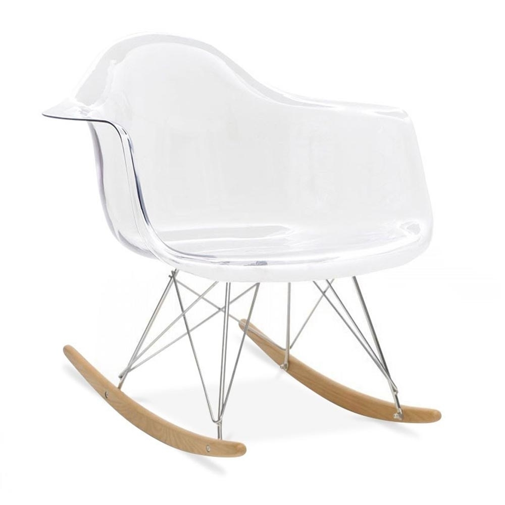 Transparent eames style rar rocker chair rocking chairs for Rocking chair
