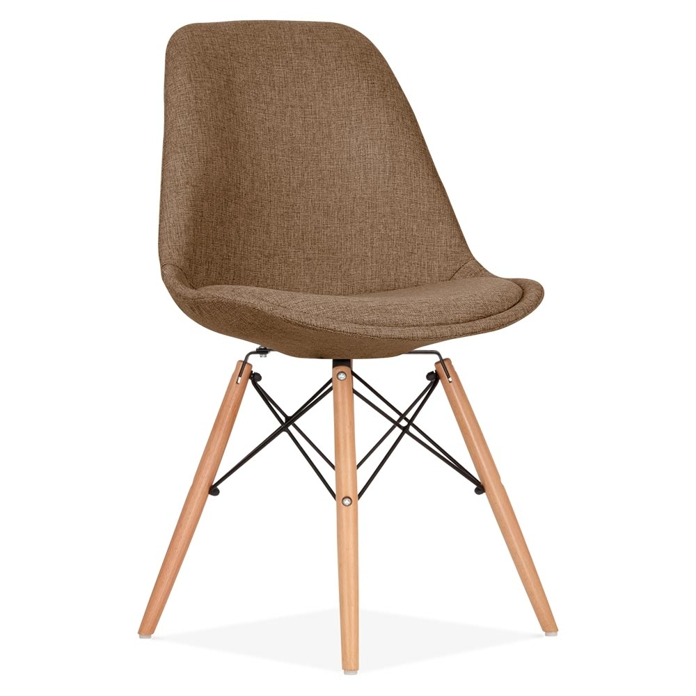 Eames inspired brown upholstered dining chair with dsw for Eames chair england