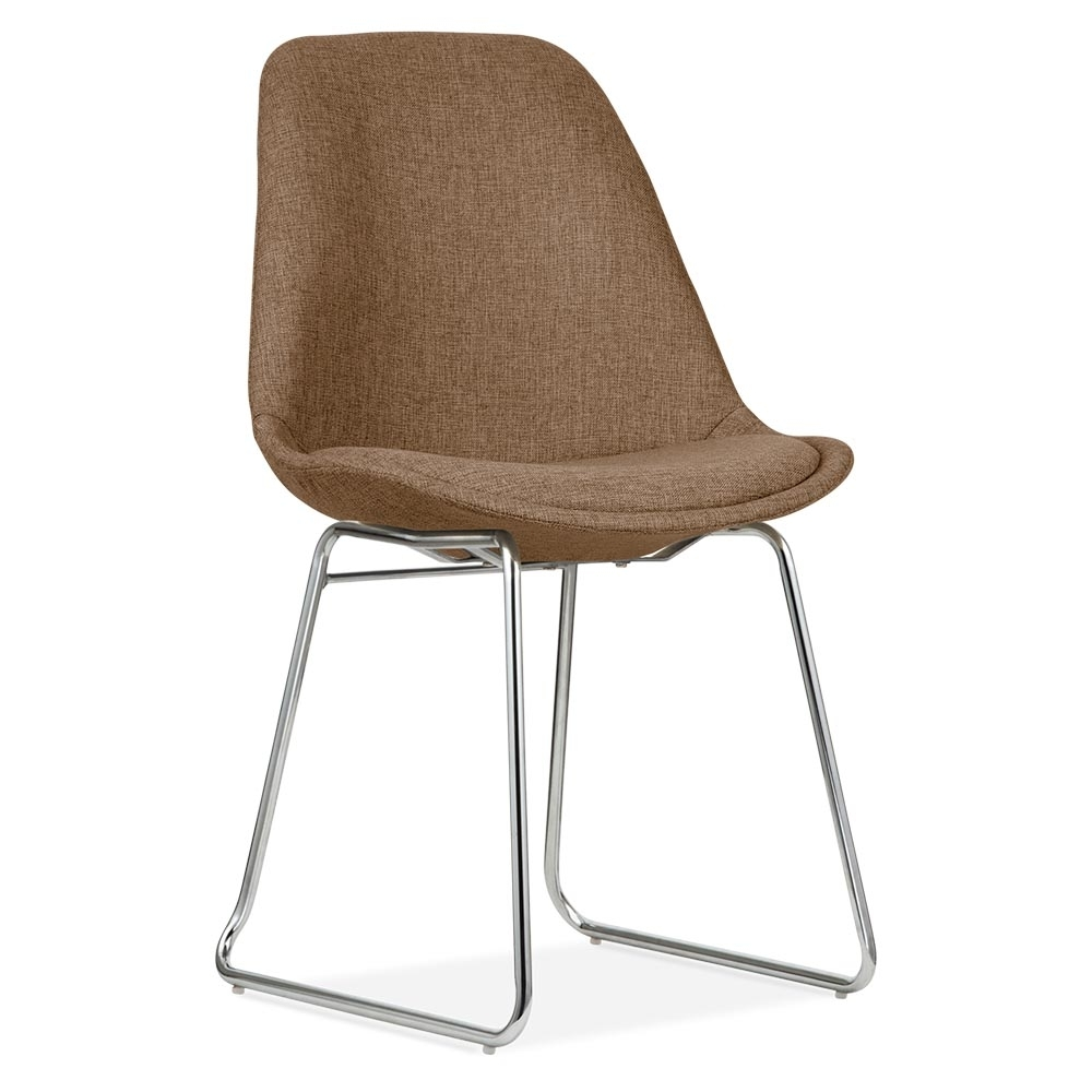 Eames inspired brown upholstered dining chair with soft for Dining chair upholstered seat