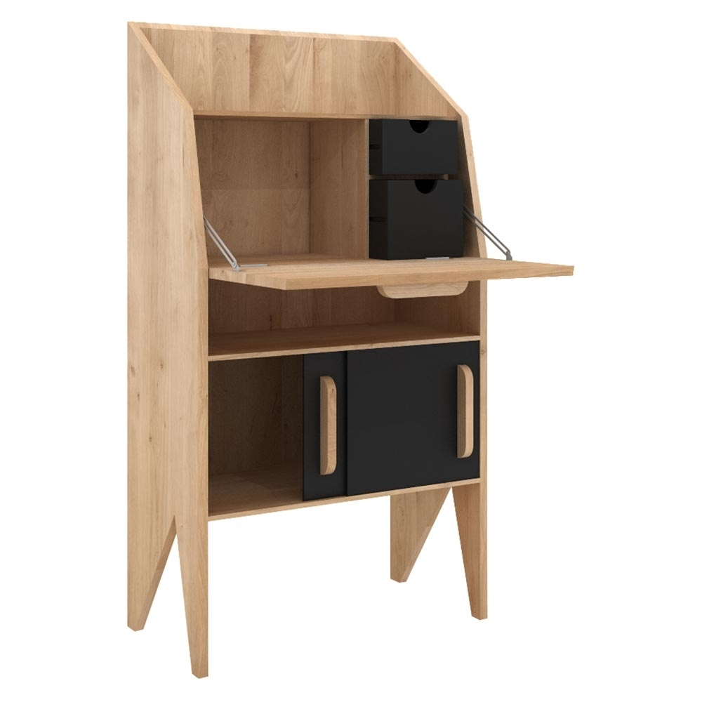 Ethnicraft Origami Desk With 2 Sliding Doors And 2 Drawers