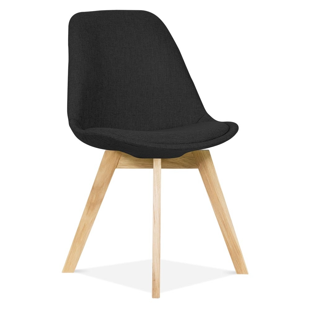 Black upholstered dining chairs - Eames Inspired Black Upholstered Dining Chair With Solid Oak Crossed Wood Leg Base