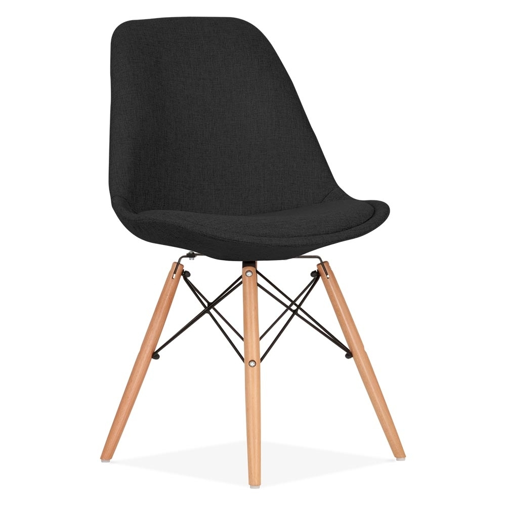 eames inspired black upholstered dining chair with dsw legs cult uk. Black Bedroom Furniture Sets. Home Design Ideas