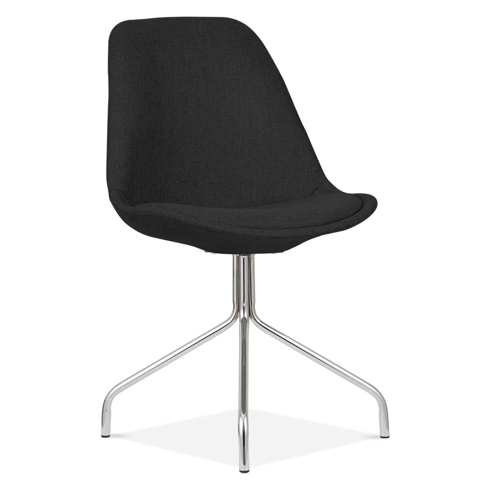 Eames inspired upholstered dining chair with cross legs for Eames chair england