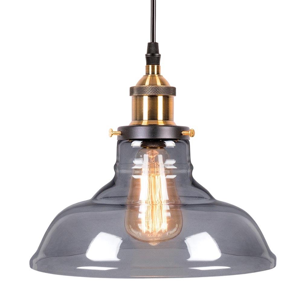 Black Edison Bowl Glass Pendant Light