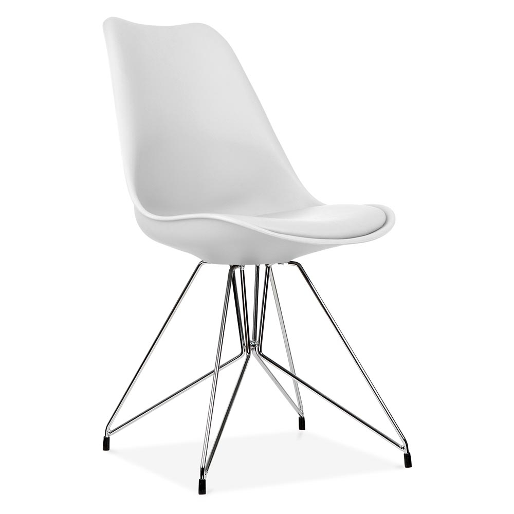 Eames inspired white dining chair with geometric legs for Table chaise scandinave