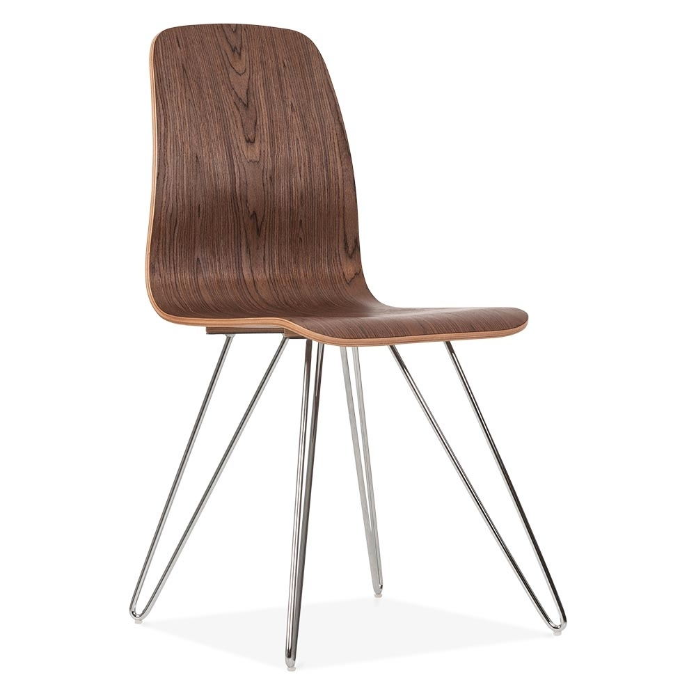 Cult Living Björn Dining Chair With Hairpin Legs   Walnut