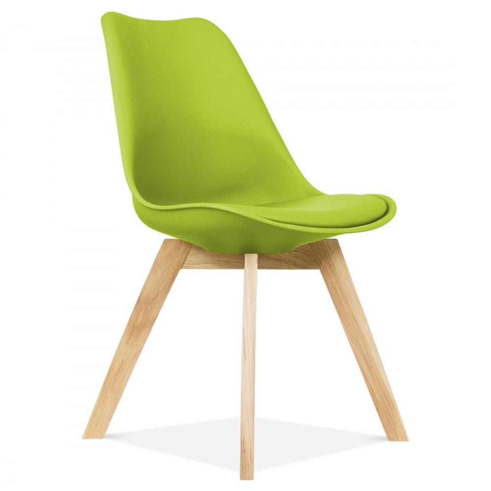 Apple green eames inspired dining chair with wood legs for Chaise eames bois