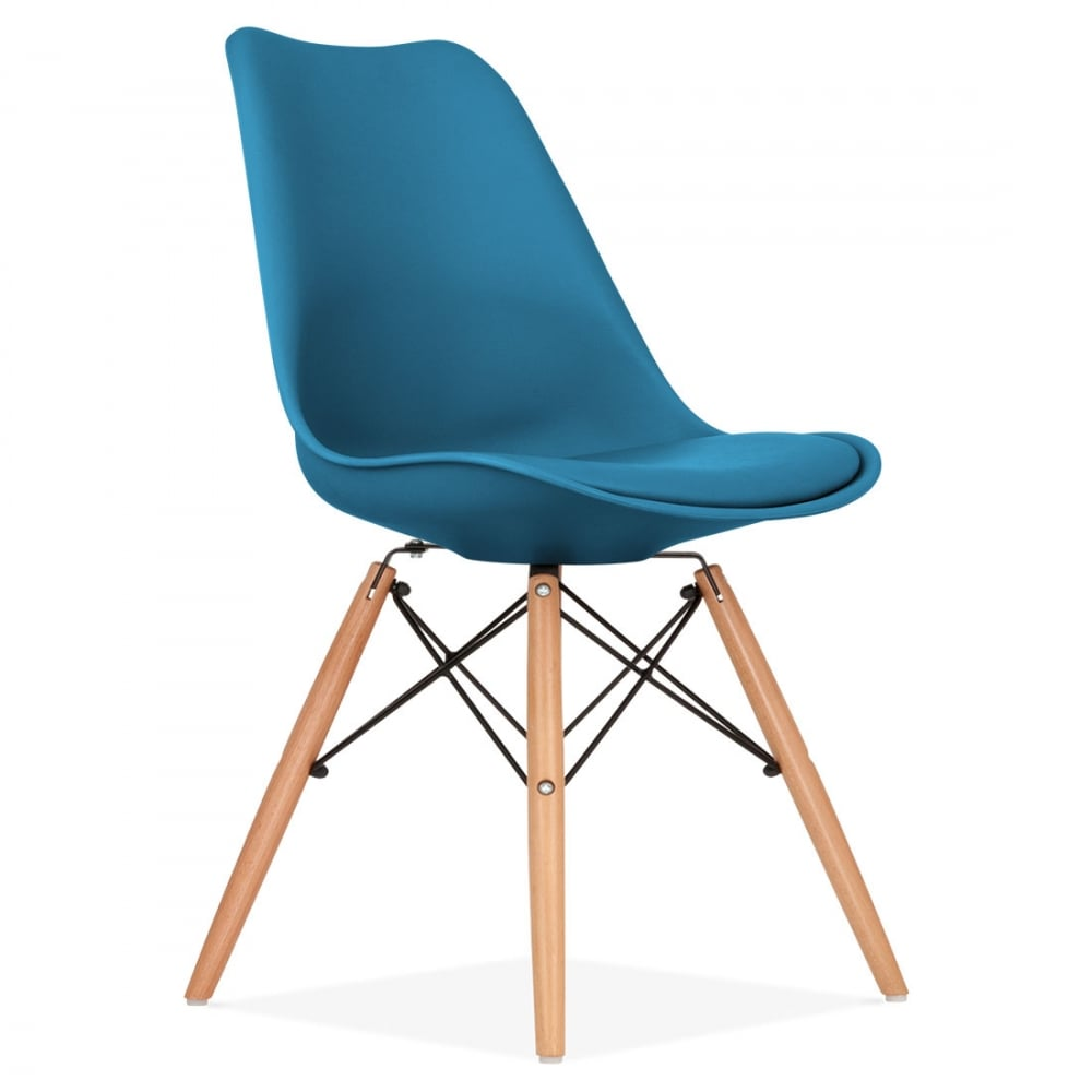 Dining Chairs Clearance: Ocean Blue Dining Chair With DSW Style Wood Legs