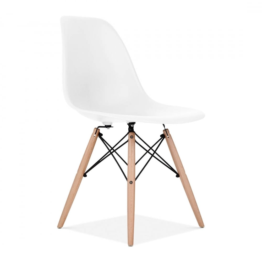 Eames style white dsw chair cafe side chairs cult for Design eames