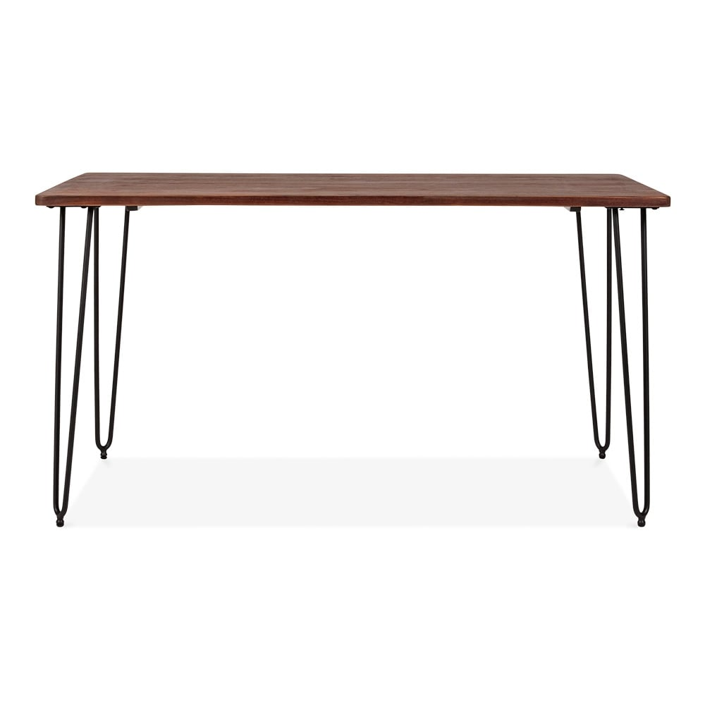 Walnut Hairpin Table in Black with Solid Wood Top Walnut 140cm