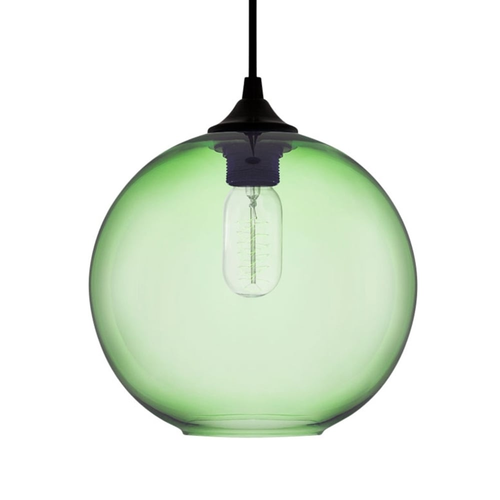 green industrial solitaire glass pendant light  restaurant lighting - edison industrial solitaire modern pendant light  soft green