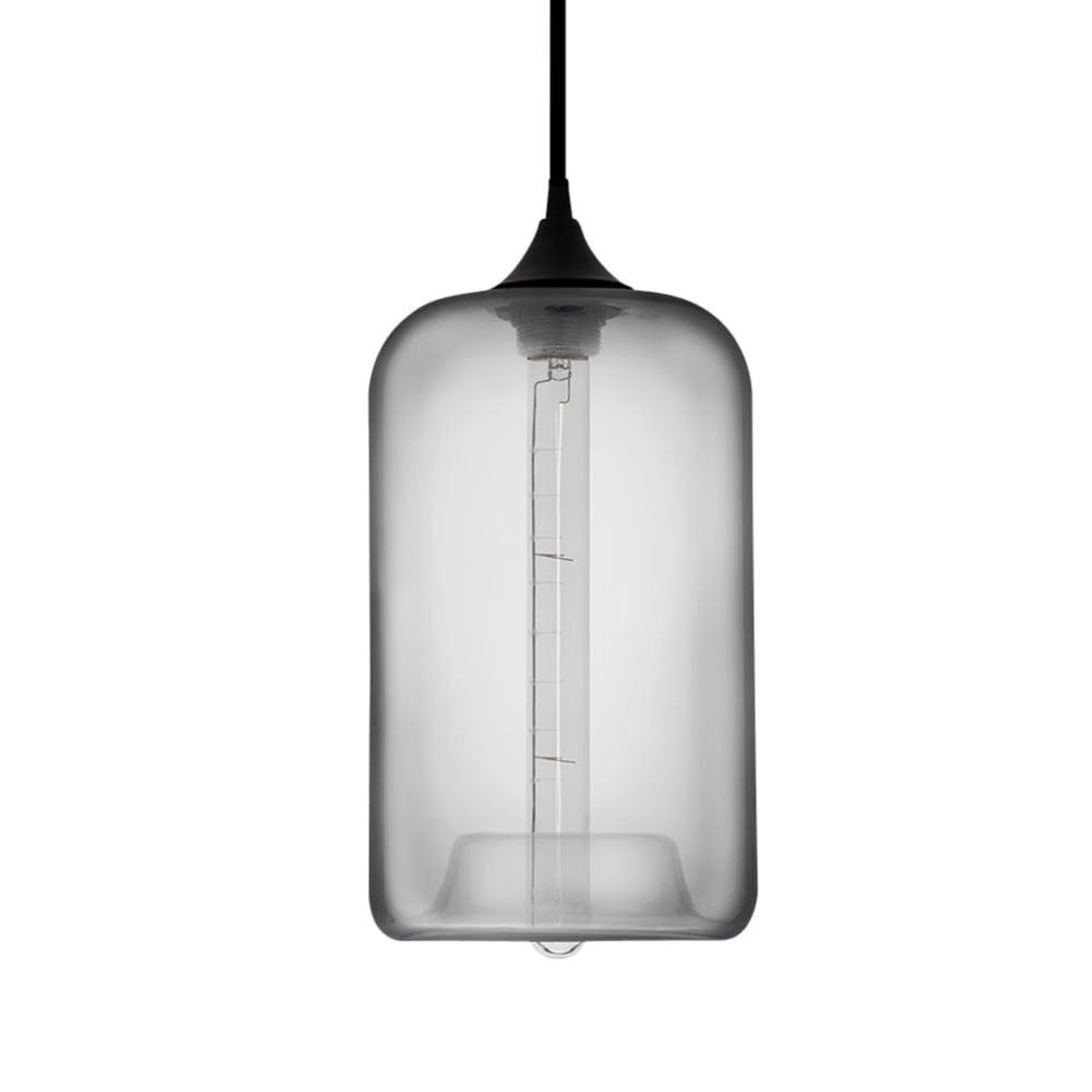 Light Grey Industrial Pod Glass Pendant Light